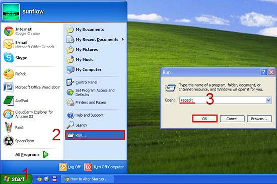 windows xp start regedit